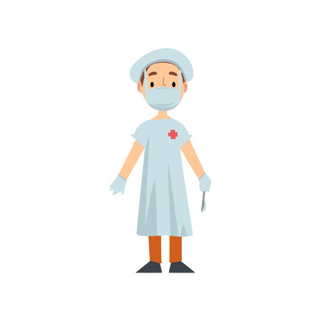 Girl Doctor Character in White Coat with Scalpel, Kid Dreaming of Future Profession Vector Illustration on White Background.