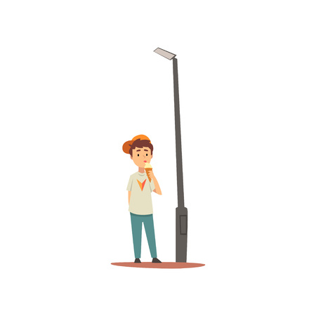 Cute Boy Eating Ice Cream Standing Next to Lamppost, Boy Walking in Park Vector Illustration on White Background.
