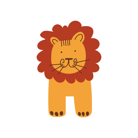 Cute Lion, Front View, Design Element Can Be Used for T-shirt Print, Poster, Card, Label, Badge Vector Illustration on White Background. Ilustração