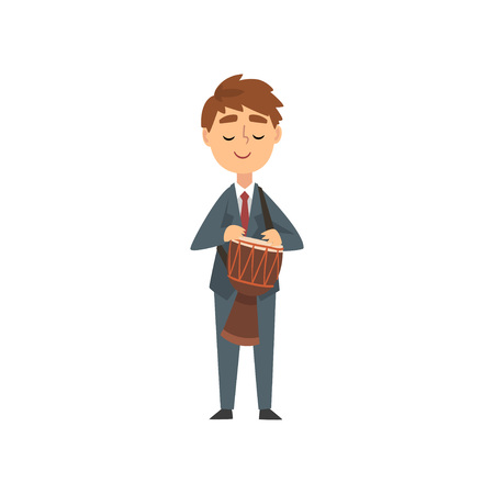 Boy Drum Player, Talented Young Musician Character Playing Percussion Musical Instrument at Concert of Classical Music Vector Illustration on White Background.
