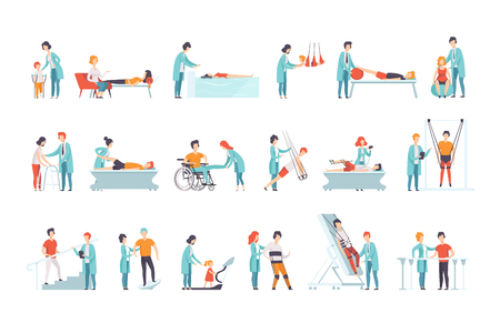 Set of people on rehabilitation. Physiotherapy clinic. Doctors working with patients. Medical service. Healthcare and treatment theme. Colorful flat vector illustration isolated on white background.