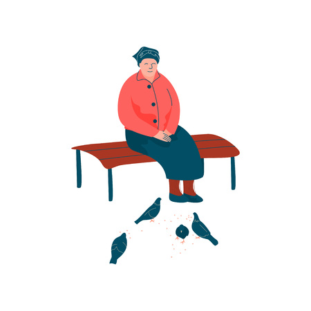Senior Woman Dressed in Seasonal Clothes Sitting on Bench and Feeding Birds, Spring Season Outdoor Activities Vector Illustration