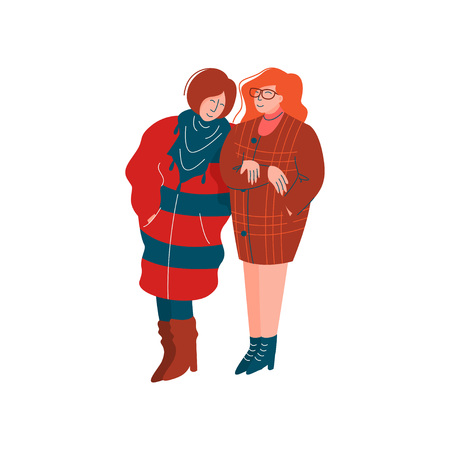 Two Girls Dressed in Stylish Seasonal Clothes Walking, Spring Season Outdoor Activities Vector Illustration on White Background.