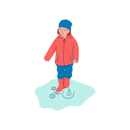 Boy Dressed in Seasonal Clothes Playing in Puddle, Spring Season Outdoor Activities Vector Illustration on White Background.