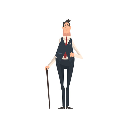 Elegant Victorian Gentleman Character with Walking Cane Vector Illustration on White Background.