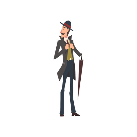 Elegant Victorian Gentleman Character Walking with Umbrella Vector Illustration on White Background.
