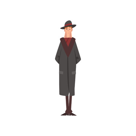 Victorian Gentleman Character in Black Coat and Hat Vector Illustration