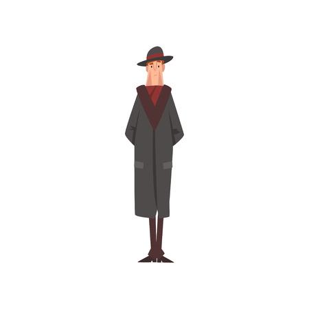 Victorian Gentleman Character in Black Coat and Hat Vector Illustration