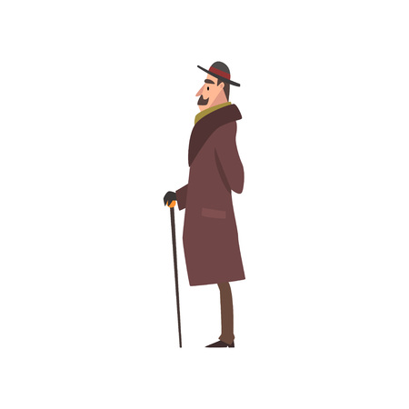 Elegant Victorian Gentleman Character in Brown Coat and Hat Walking with Cane Vector Illustration