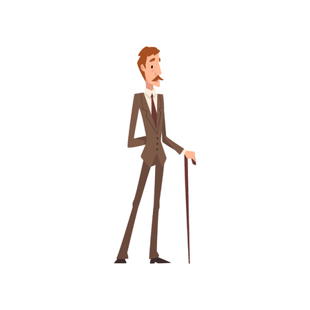 Self Confident Victorian Gentleman Character in Elegant Suit Standing with Walking Cane Vector Illustration on White Background.