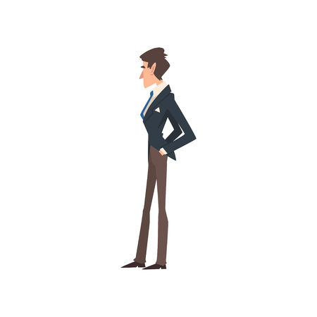 Rich and Successful Victorian Gentleman Character in Elegant Suit, Side View Vector Illustration