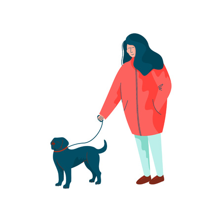 Young Woman Dressed in Seasonal Clothes Walking with Her Dog, Spring Season Outdoor Activities Vector Illustration on White Background.