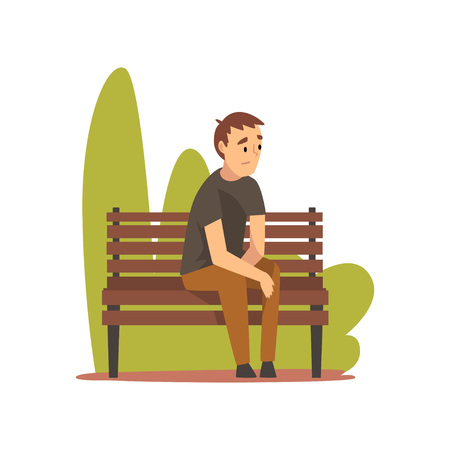 Young Man in Casual Clothes Sitting on Bench in Park Vector Illustration on White Background. Illustration