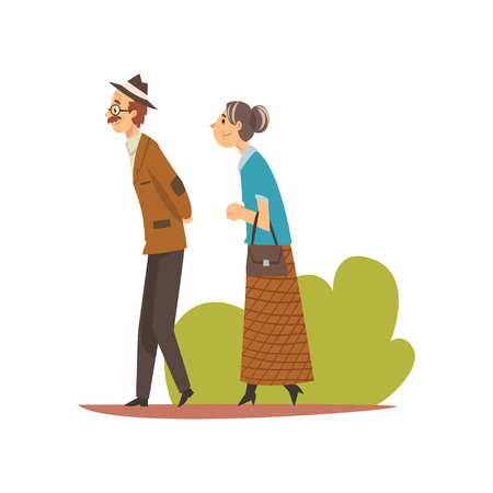 Elderly Couple Walking in Park, Senior Man and Woman Enjoying Nature Outdoors Vector Illustration on White Background. Banque d'images - 128164136