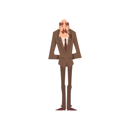 Reife viktorianische Gentleman-Cartoon-Charakter-Pfeife-Vektor-Illustration auf weißem Hintergrund.