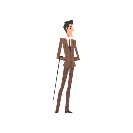 Elegant Victorian Gentleman Character in Suit Walking with Cane Vector Illustration