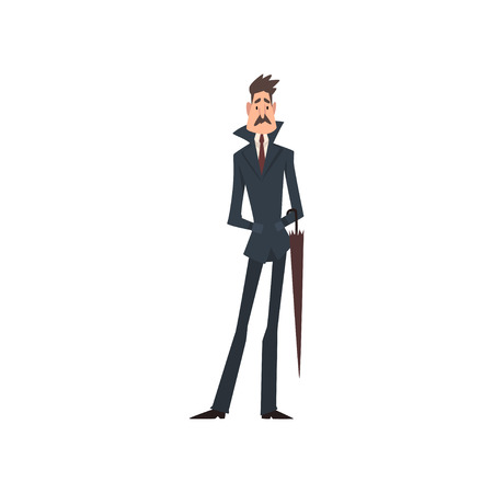 Self Confident Victorian Gentleman Character in Elegant Suit with Umbrella Vector Illustration on White Background. 일러스트