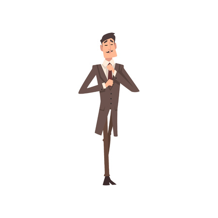 Self Confident Victorian Gentleman Character in Elegant Suit Vector Illustration on White Background. 일러스트