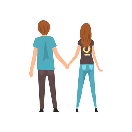 Young Man and Woman Holding Hands, Happy Romantic Couple on Date, Back View, Happy Lovers Characters Vector Illustration on White Background. Illustration