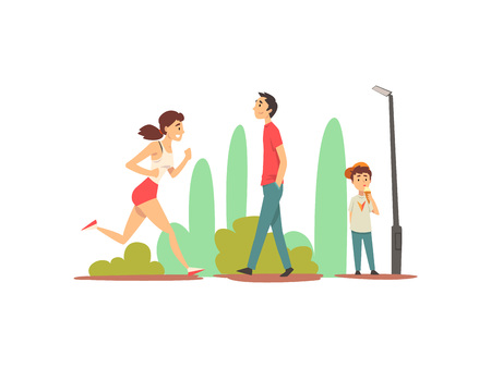 People Relaxing and Doing Sports in Park, Sportive Girl Running, Young Man Walking, Cute Boy eating Ice Cream Vector Illustration on White Background.