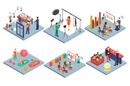 Sammlung von Innenräumen, Fotostudio, Schulklassenzimmer, Fitnessstudio, Büro, Bar-Innenraum-flache Vektor-Illustration