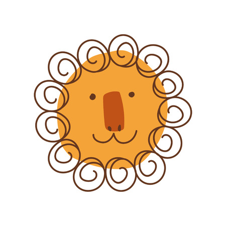 Cute Lion Head with Smiling Face, Hand Drawn Design Element Can Be Used for T-shirt Print, Poster, Card, Label, Badge Stylized Vector Illustration on White Background.  イラスト・ベクター素材