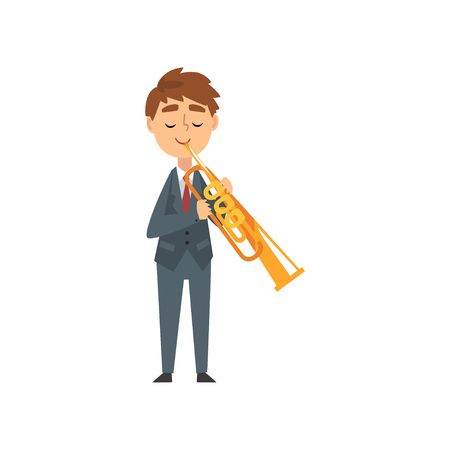 Boy Playing Trumpet, Talented Young Trumpeter Character Playing Musical Instrument at Concert of Classical Music Vector Illustration on White Background.