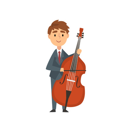 Boy Cello Player, Talented Young Cellist Character Playing Acoustic Musical Instrument, Concert of Classical Music Vector Illustration