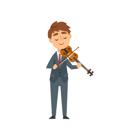 Boy Playing Violin, Talented Young Violinist Character Playing Acoustic Musical Instrument, Concert of Classical Music Vector Illustration on White Background.