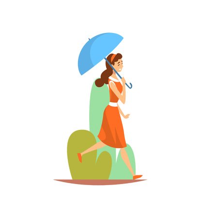 Beautiful Young Woman in Red Dress Walking in Park with Umbrella, Girl Enjoying Nature Outdoors Vector Illustration on White Background. Ilustração