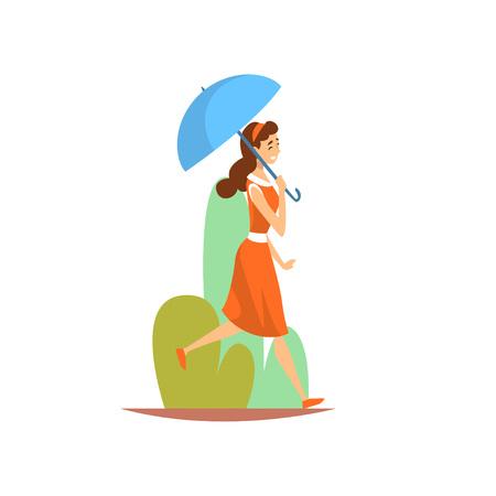 Schöne junge Frau im roten Kleid zu Fuß im Park mit Regenschirm, Mädchen genießen Natur im Freien Vektor-Illustration auf weißem Hintergrund.