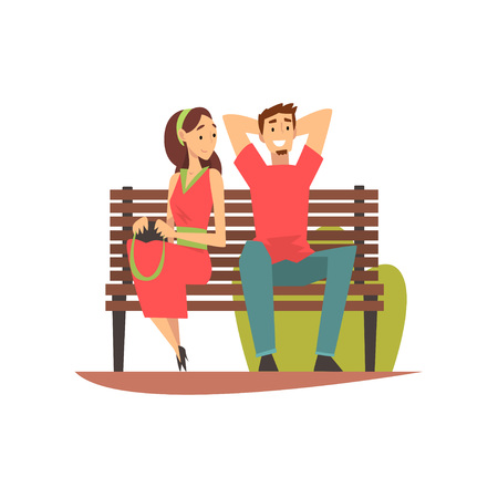 Smiling Young Man and Woman Sitting on Bench in Park, Romantic Couple on Date Vector Illustration on White Background. Çizim