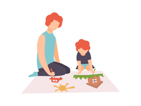 Father and Son Sitting on Floor and Painting Picture with Paints and Brush, Dad and Little Son Spending Good Time Together Vector Illustration on White Background.