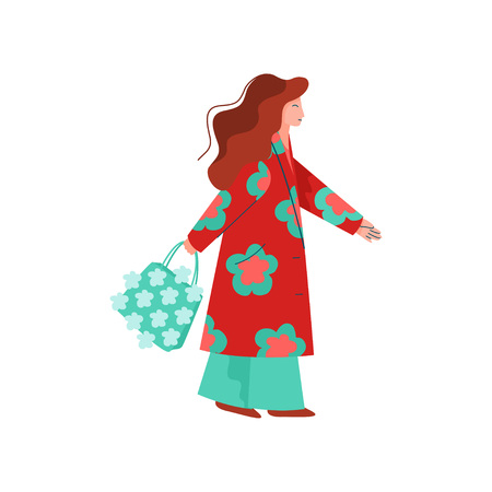 Beautiful Woman Dressed in Bright Stylish Seasonal Clothes Walking with Bag Vector Illustration on White Background.