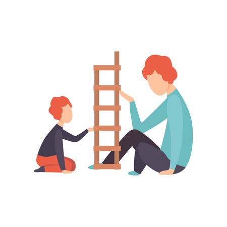 Father and Son Sitting on Floor Playing Game, Dad and Little Son Spending Good Time Together Vector Illustration Illustration