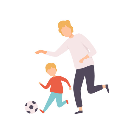 Father and Son Playing Soccer, Happy Family Outdoor Activities Vector Illustration on White Background.
