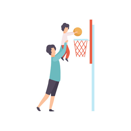 Father and Son Playing Basketball, Dad Holding His Son Helping Him to Score Basket, Happy Family Outdoor Activities Illusztráció