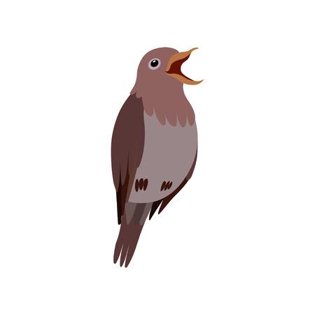 Little Nightingale Bird, Cute Birdie Home Pet Vector Illustration on White Background.