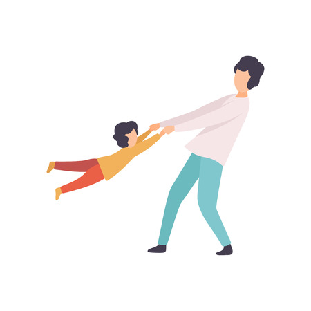 Father Swinging Son Holding His Hands, Happy Family Outdoor Activities Vector Illustration on White Background. 矢量图像