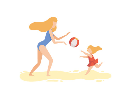 Mother and Her Daughter Playing with Ball on Beach, Happy Family Enjoying Summer Vacation on Seashore Vector Illustration on White Background.