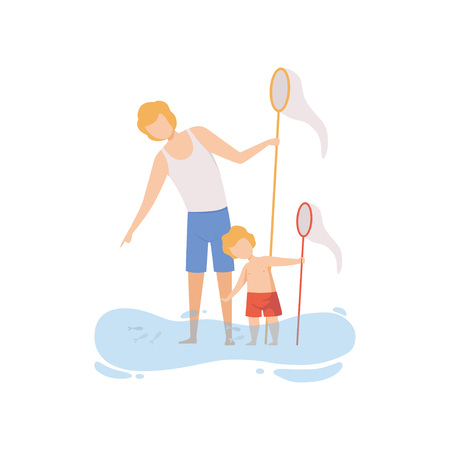 Father and His Son Catching Fish with Fishing Net, Happy Dad and Son Enjoying Summer Vacation on Seashore Vector Illustration on White Background.