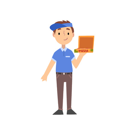 Pizza Delivery Boy Character with Box, Kid Dreaming of Future Profession Vector Illustration on White Background.