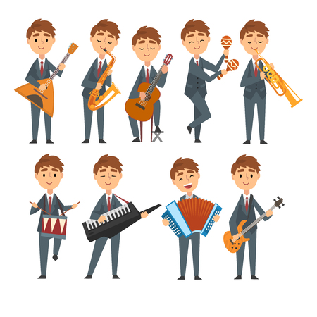 Musicians Boys Playing Different Musical Instruments Set, Talented Children Characters Playing Balalaika, Saxophone, Guitar, Maracas, Drum, Synthesizer, Trumpet, Accordion Vector Illustration