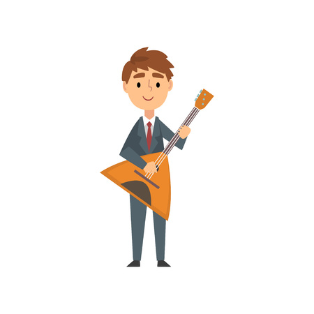 Boy Playing Balalaika, Talented Young Musician Character Playing Acoustic Musical Instrument at Concert of Classical or Folk Music Vector Illustration on White Background.
