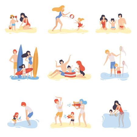 Parents and Their Children Playing, Swimming and Having Fun on Beach, Happy Family Enjoying Summer Vacation on Seashore Vector Illustration on White Background.