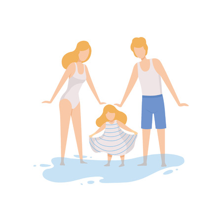 Mom, Dad and Their Little Daughter on Beach, Happy Family Enjoying Summer Vacation on Seashore Vector Illustration on White Background. Standard-Bild - 128164212