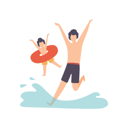 Father and Son , Happy Family Outdoor Activities Vector Illustration on White Background.