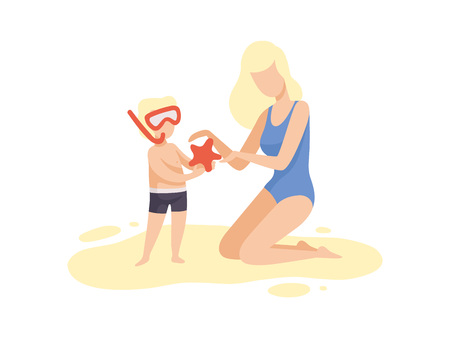 Mother and Her Son on Beach, Cute Boy in Diving Mask Holding Starfish, Happy Mom and Son Enjoying Summer Vacation on Seashore Vector Illustration on White Background. Standard-Bild - 128164214