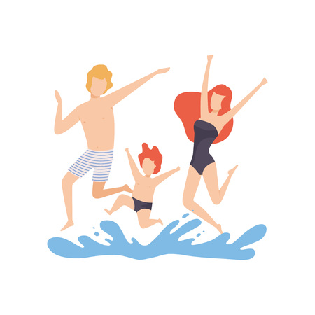 Happy Family Having Fun on Beach, Mother, Father and Son Having Summer Vacation on Seashore Vector Illustration on White Background. Иллюстрация