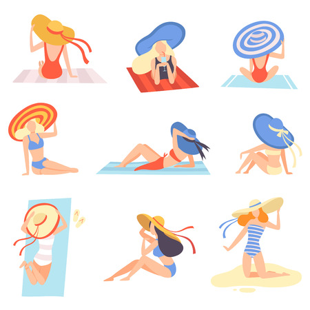 Girls in Swimsuits and Hats Sunbathing on Beach Set, Beautiful Young Woman Enjoying Summer Vacation on Seashore Vector Illustration on White Background.